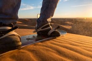 Sandboarding in Morocco's desert