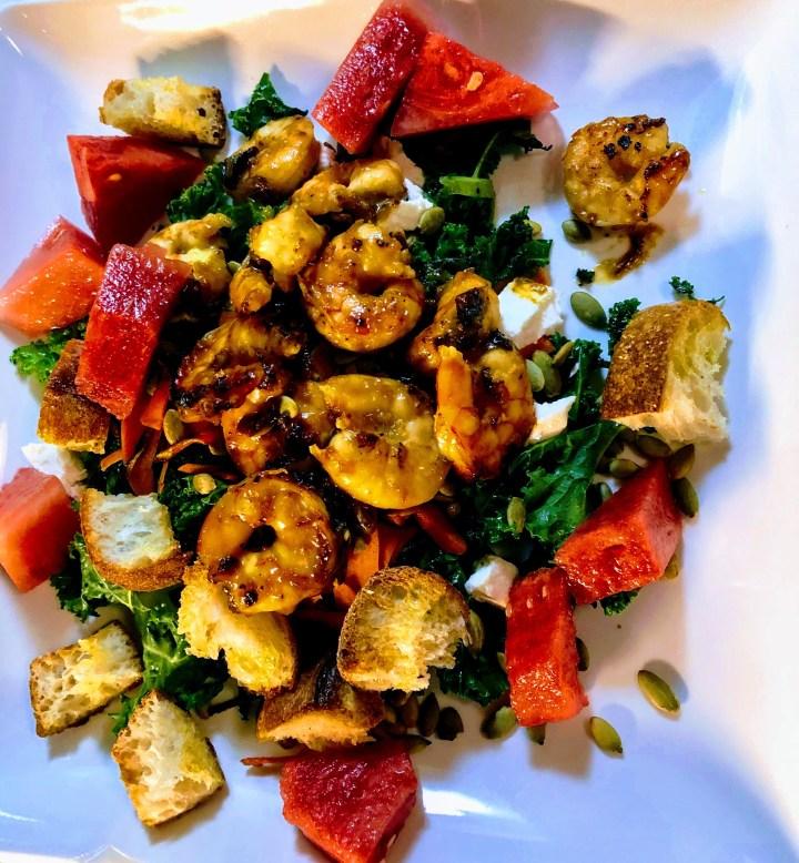 Shrimp and Watermelon Kale Salad