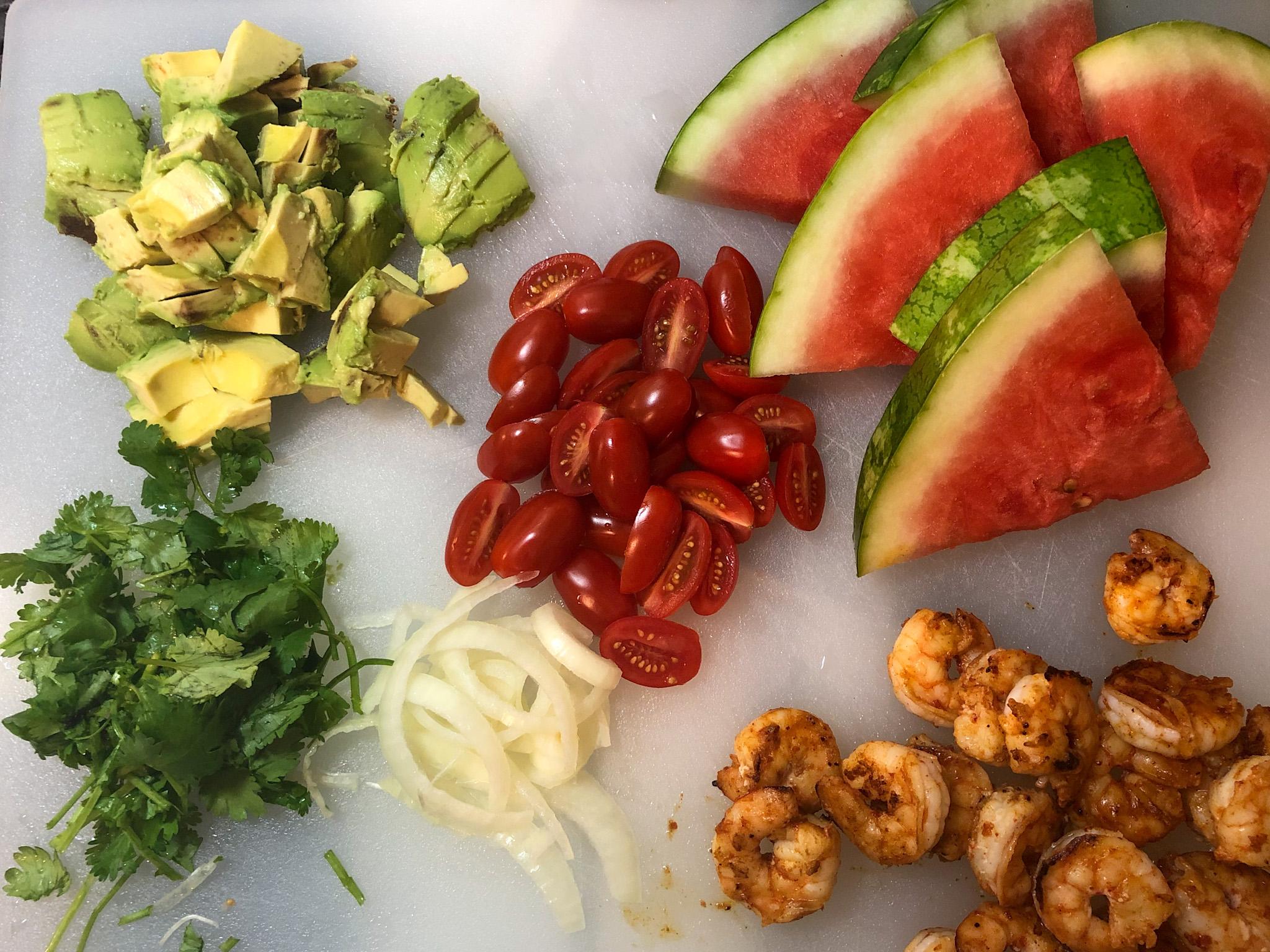 Chili Lime Shrimp, Avocado and Watermelon Salad