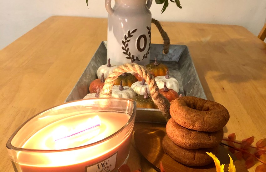 donuts, apples, fall decor, candle