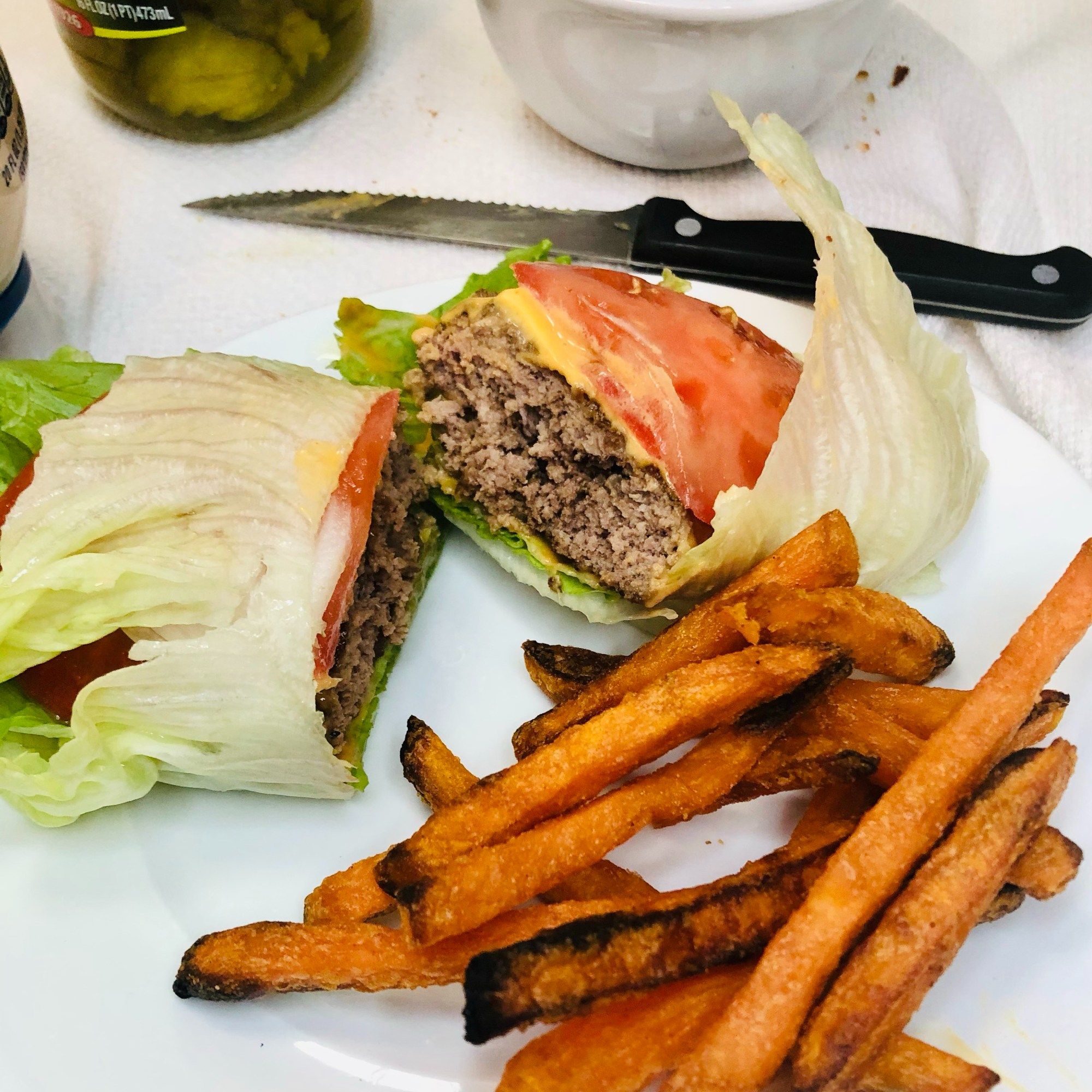 cheeseburger wrapped in lettuce