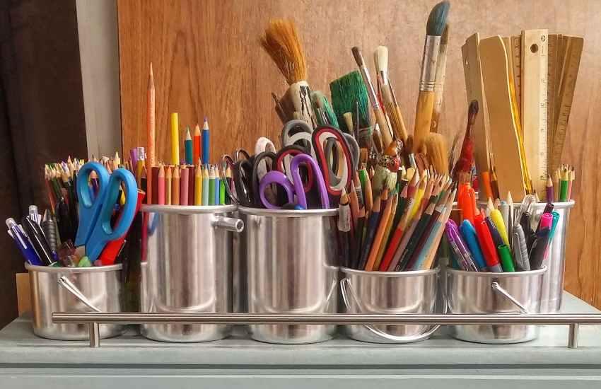 pencils in stainless steel bucket