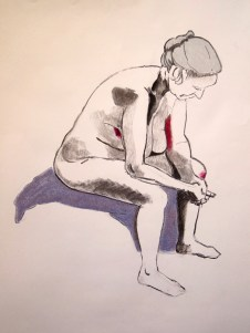 Unknown model. Charcoal and pastel on paper. Todmorden, 2015