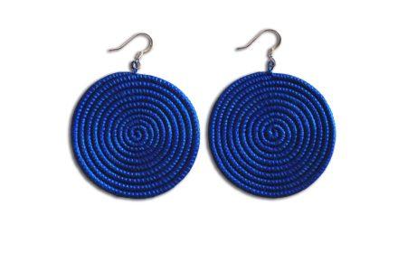 Large Disc Earrings- Blue