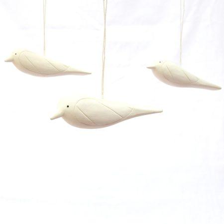 Bird Ornament Trio- White
