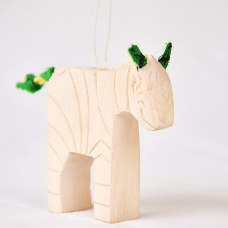 Carved Safari Animal Ornament- Zebra web