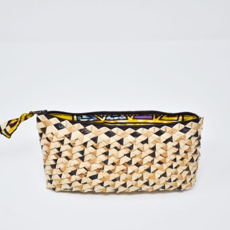 Palm Leaf Phone Purse- Mustard Triangles