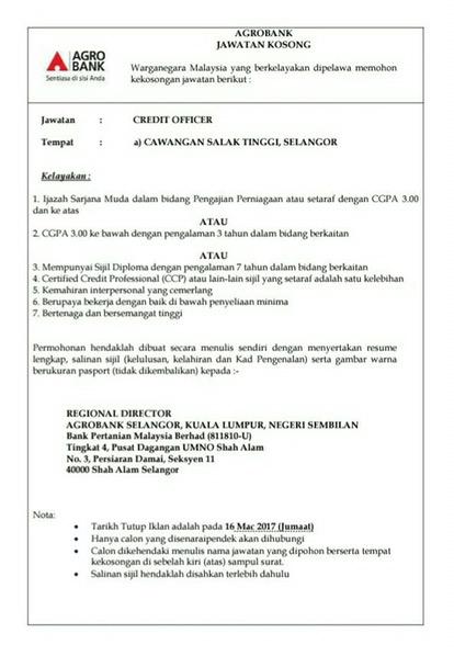 Jawatan Kosong Pelbagai Di Agrobank Tarikh Tutup 16 Mac 2017 Azizulwmc Com