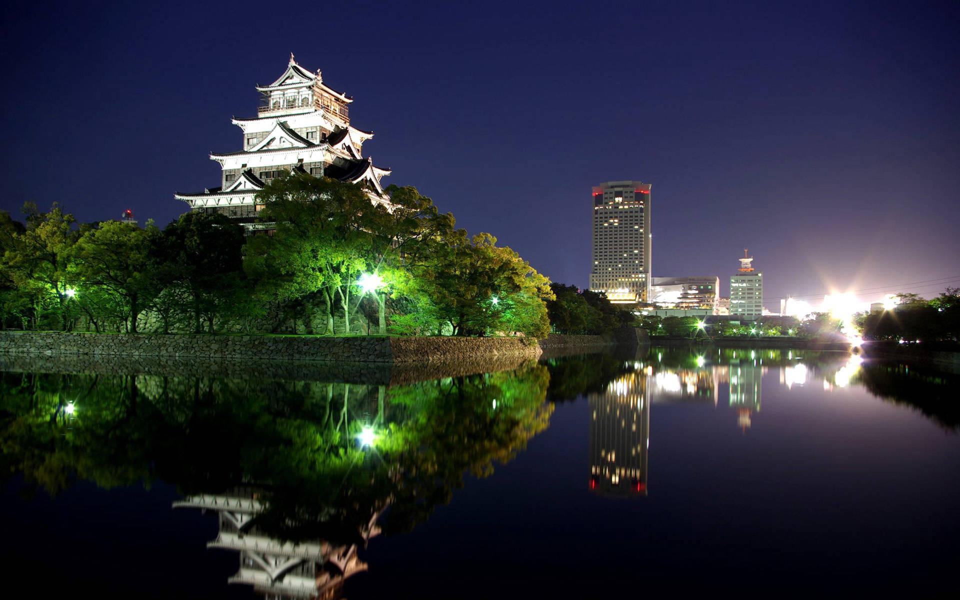 Hiroshima city castle at night