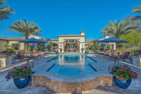 1. The Spanish As Seen on the Cover of Phoenix Home & Garden Magazine home built by Calvis Wyant was originally listed for 5,150,000 and sold for $4,750,000. The home featured 5 bedrooms, 8 bathrooms, 8,713 sf, with 4-car garage, on 1.25 acres.