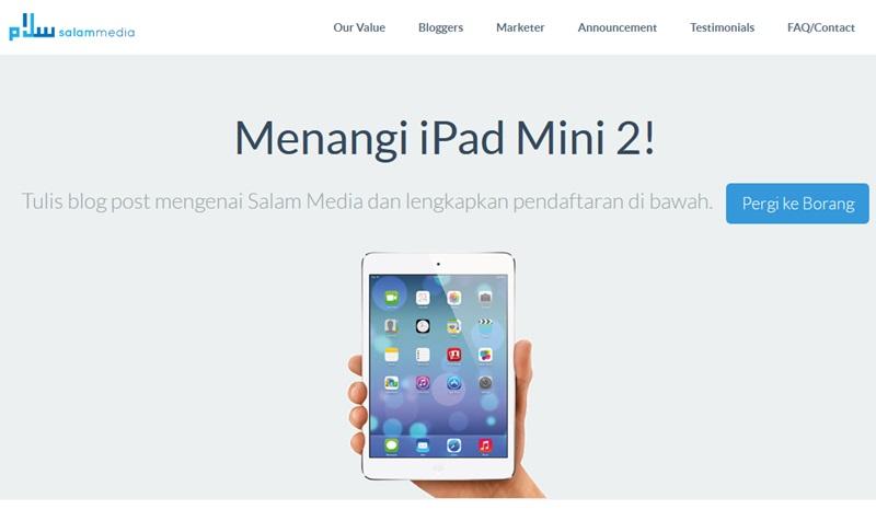 Jom daftar sekarang, mana la tahu... nkorang menang iPad Mini 2!