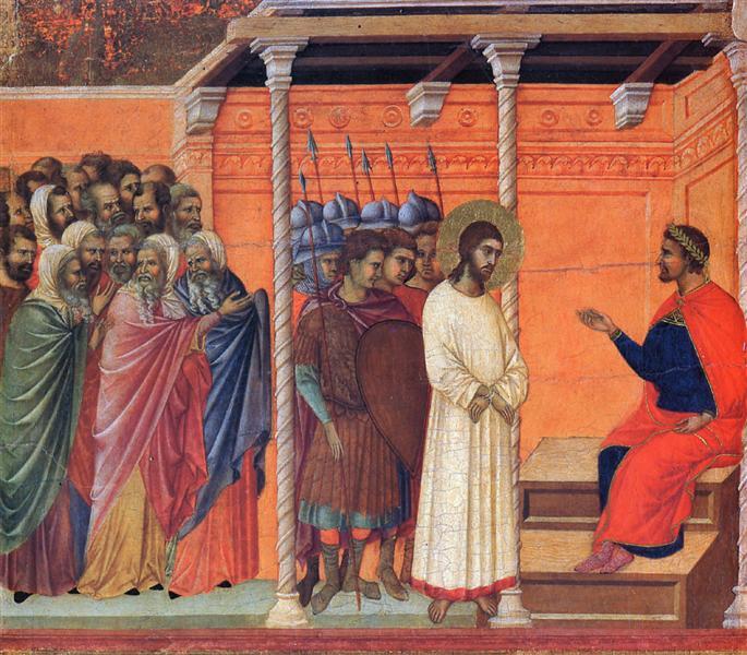 Христос пред Пилат, Маеста, Сиена, Дучо 13 век