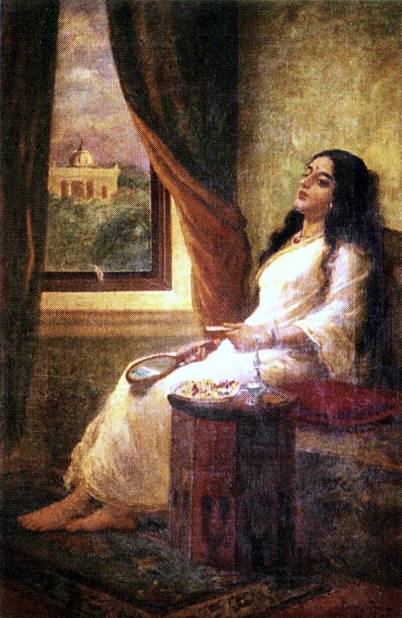 Em contemplação – Raja Ravi Varma (1848–1906)