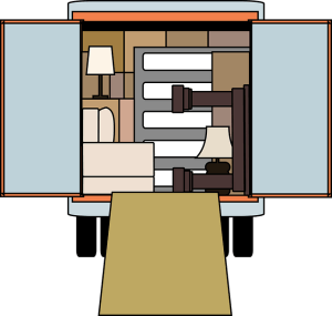 An illustration of a moving truck with somebody's possessions packed inside.