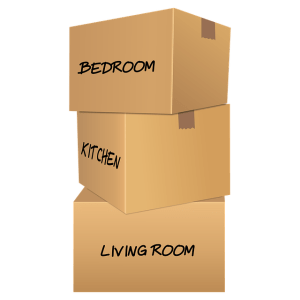 Moving boxes from bedroom, kitchen and living room.