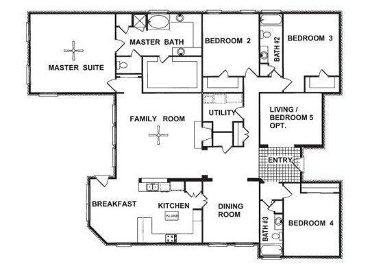 Unique 4 Bedroom House Plans Single Story