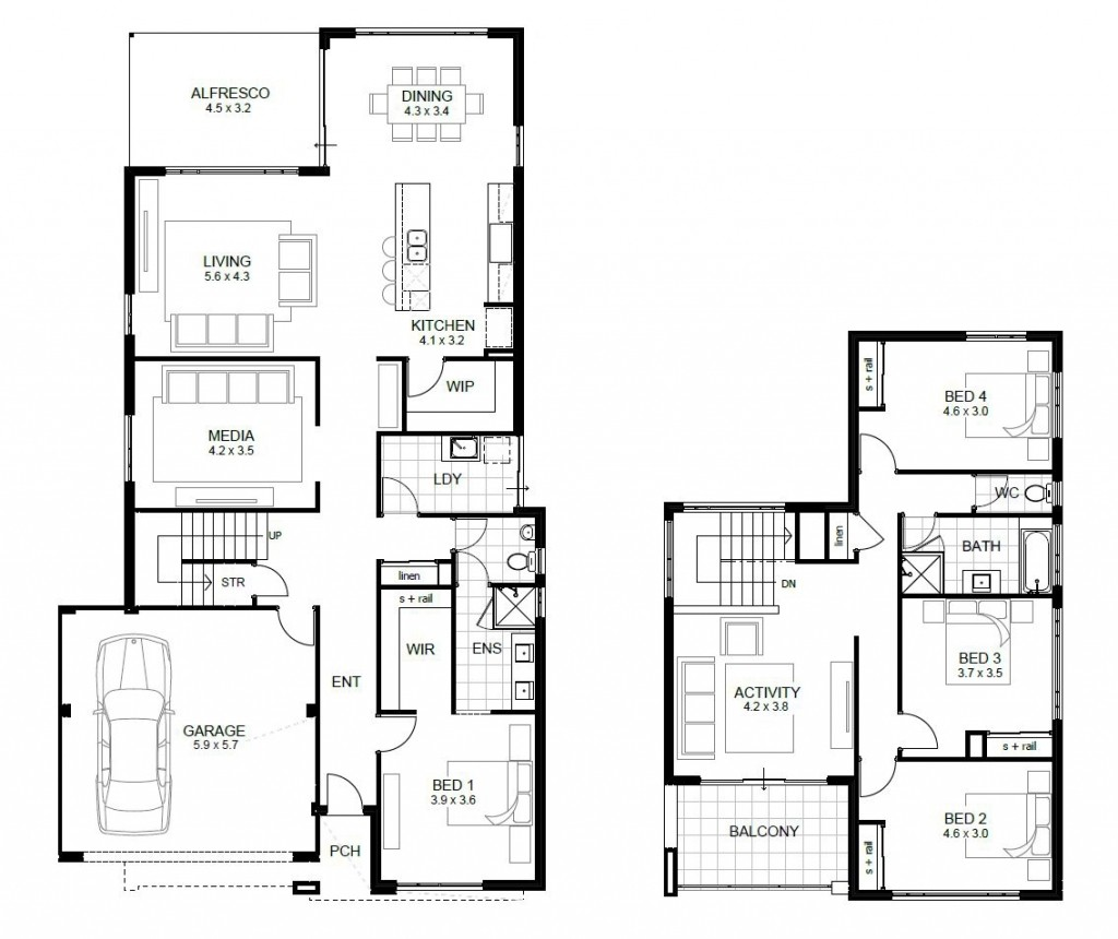 4 Bedroom Modern House 4 Bedroom Two Story House Plans Novocom Top