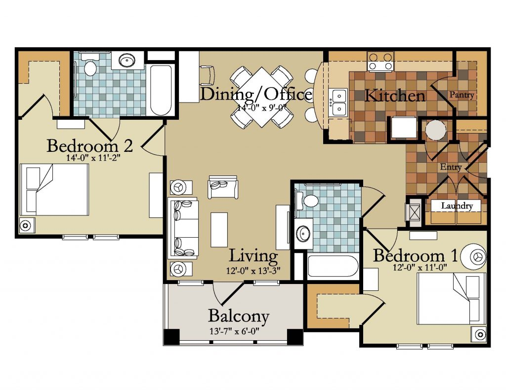 Beautiful Luxury Two Bedroom House Plans