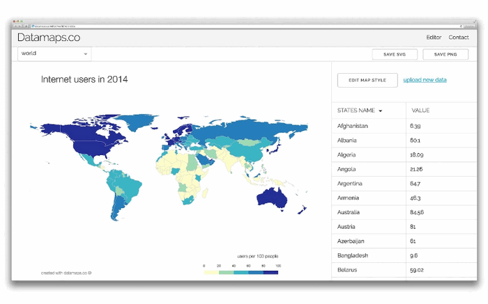 Create Data Maps For Free with Datamaps.co