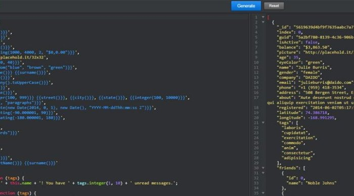 JSON Generator is a free webapp for Generating Data Structures