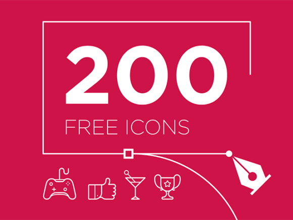 Free 200 vector icons set for Illustrator
