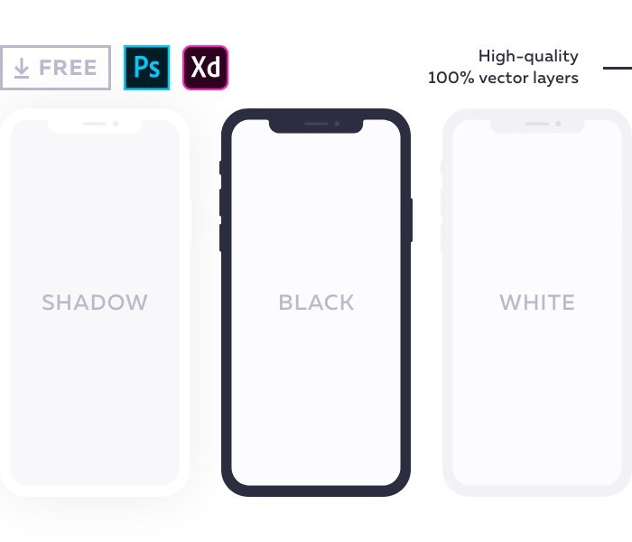 iPhone X Mockups for Adobe XD & PS