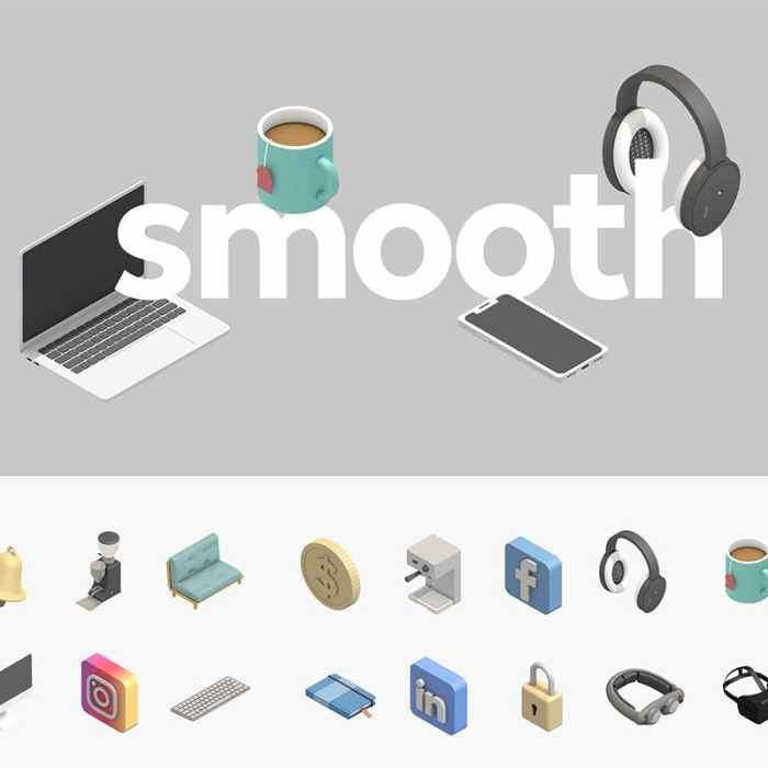 Smooth Isometric 3D Icons Collection for Free
