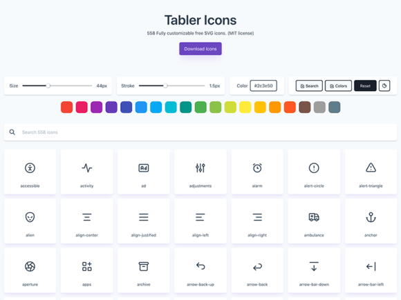 Tabler Icons: 550+ Free SVG Icons
