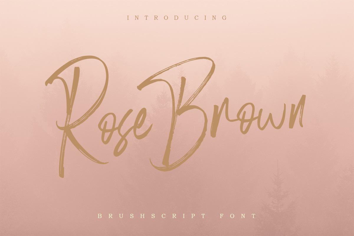 Rose Brown Brush Script
