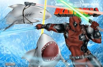 Deadpool Sharks Print Lineart V2