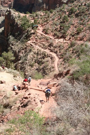The desert landscape of the Bright Angel Trail
