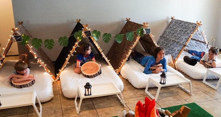 Camouflage or Safari teepee party, glamping party theme, Teepee Party Scottsdale (9)1