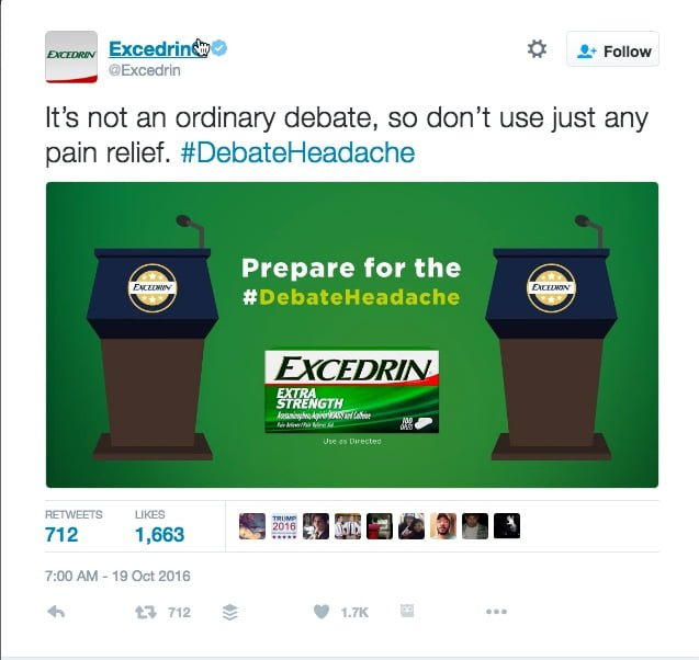 #DebateHeadache: Clever Ad Takes Advantage of Tonight's Debate