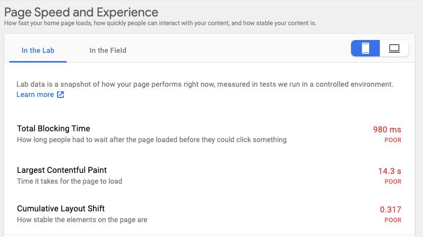 Google Site Kit, Core Web Vitals test