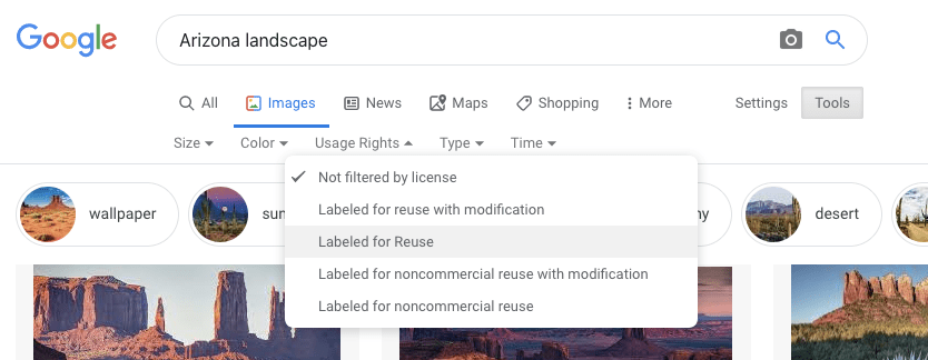 Google images license for reuse