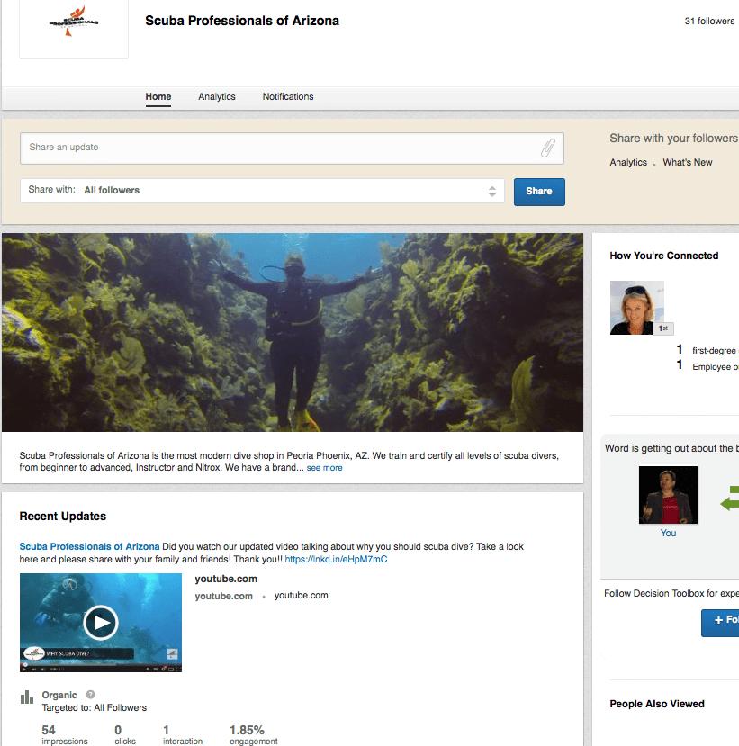 Scuba Professionals of Arizona LinkedIn Page
