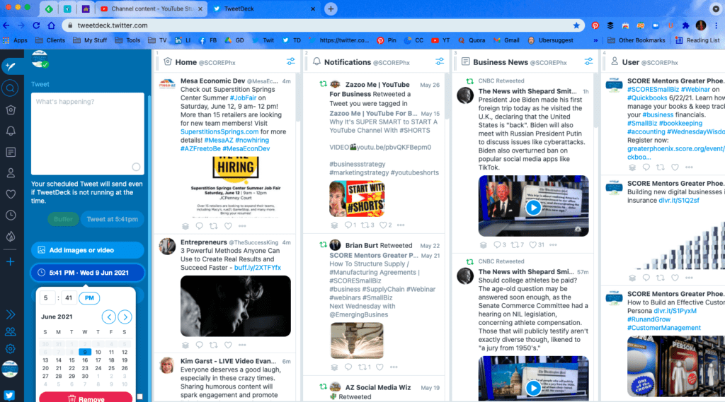 Manage Twitter with the free tool TweetDeck