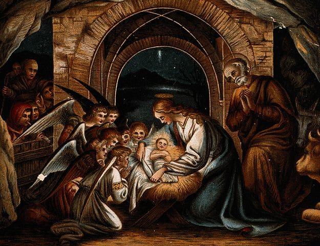 Angels pray at the birth of Christ