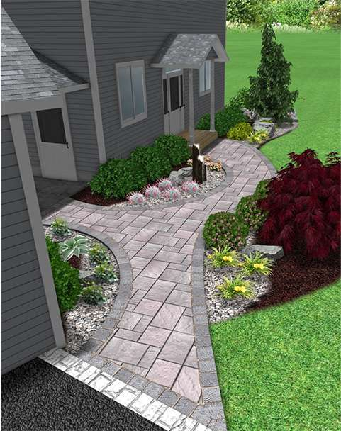 Front 3D landscape and walkway design in New Paltz NY