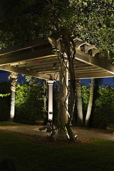 Pergola with LED lighting and landscape in Poughkeepsie NY