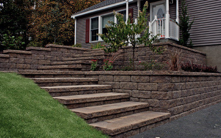 A Cambridge retaining wall with large steps, Milton NY