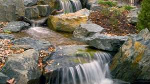 Waterfall streams give this pond an amazing look of running water, Highland NY