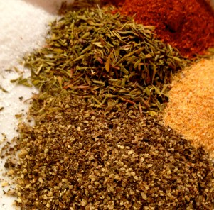Dry Spices: thyme, cayenne, pepper, garlic powder and salt.
