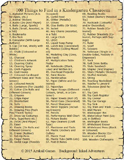 100 Things to Find in a Kindergarten Classroom