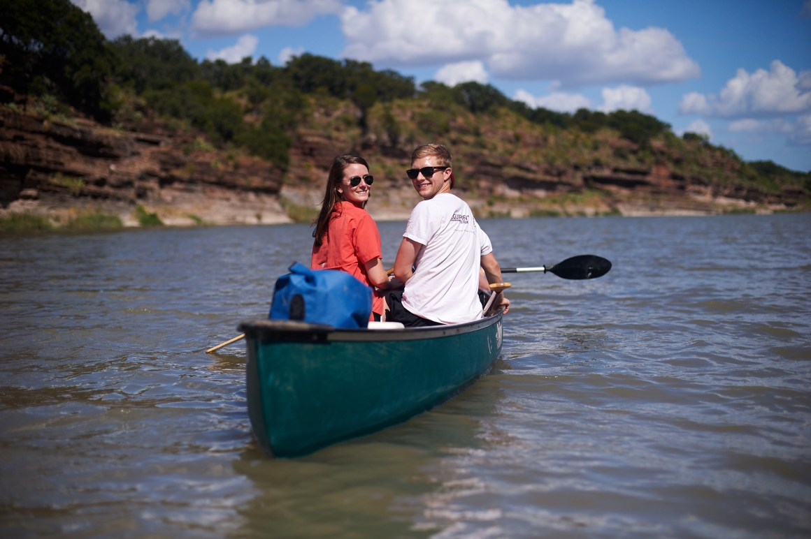 Chase and Lindsey Kayaking Engagement on Llano River