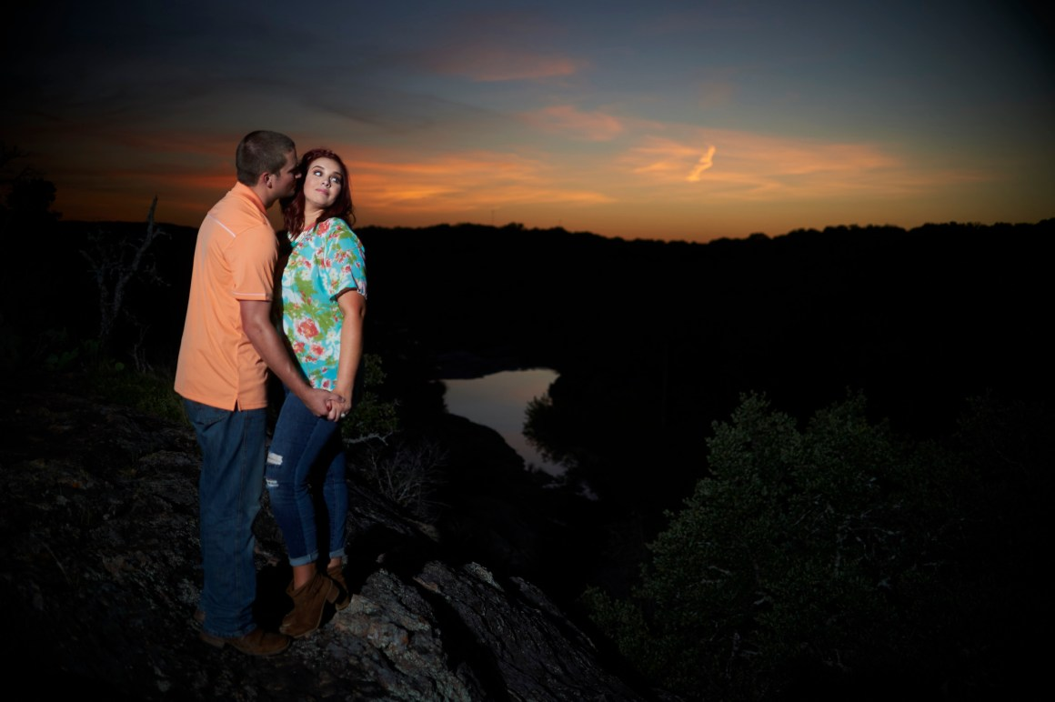 Inks Lake Adventure Engagement - Blue Hour Engagement Photos - Hill Country Engagement Portrait - Austin Adventure Engagement