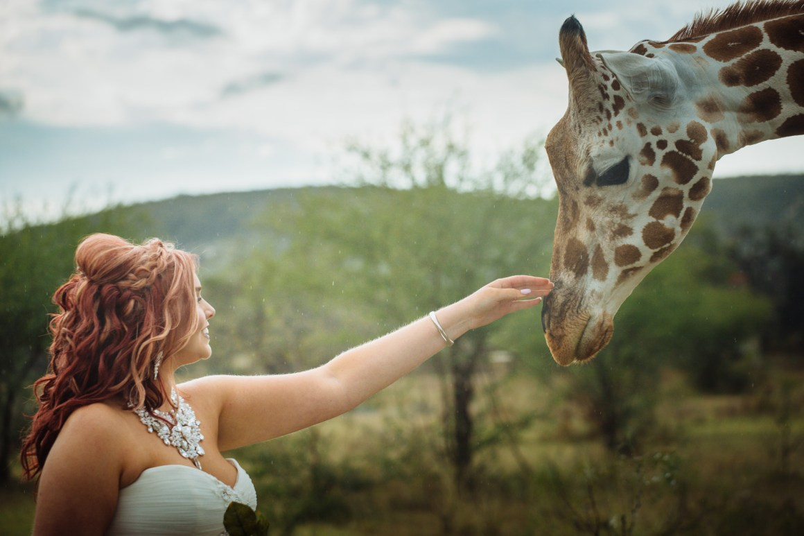 Austin Giraffe Bridal Portrait - Austin Wedding Photographer - Epic Bridal Portraits