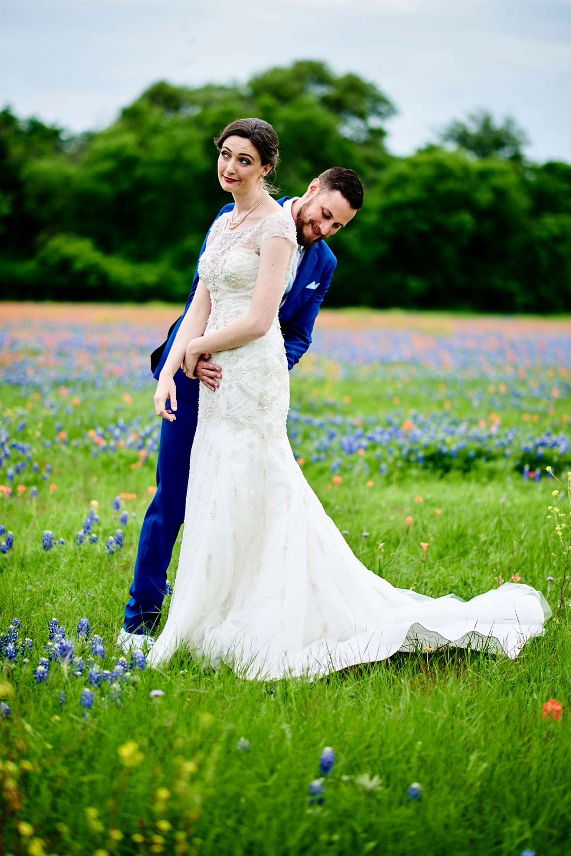 Bluebonnet First Look - Waco DIY Wedding - Temple Camp Wedding - Hallie and Jonathan - Green Family Camp - Bluebonnet Wedding