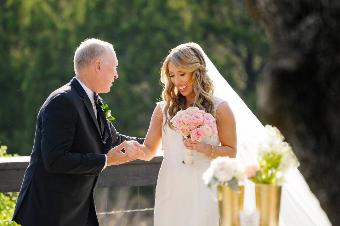 Antebellum Oaks Wedding - Austin Wedding Photographer - Jacob and Katie - bride and father - walking daughter down the aisle - here comes the bride