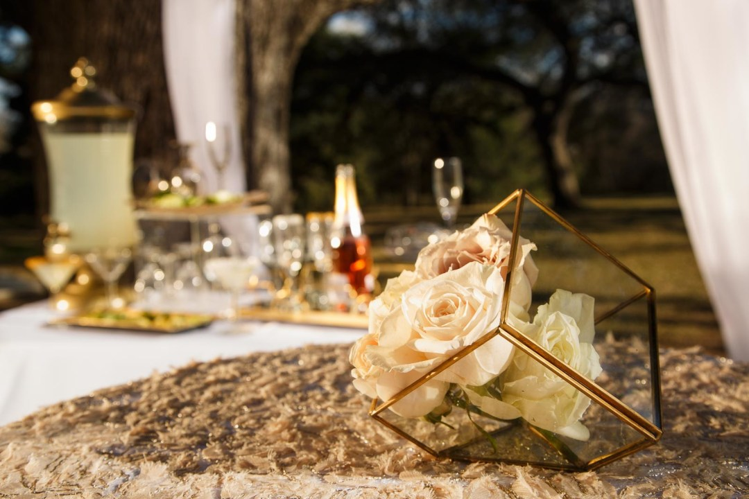Cathedral Oaks Event Center - Bliss Bridal Magazine - Bridal Photos - Austin Wedding Photographers - Austin Wedding Venues - Creative Innovations Wedding & Event Florals - Karla McNeil Events - Elegant Golden Hour Wedding